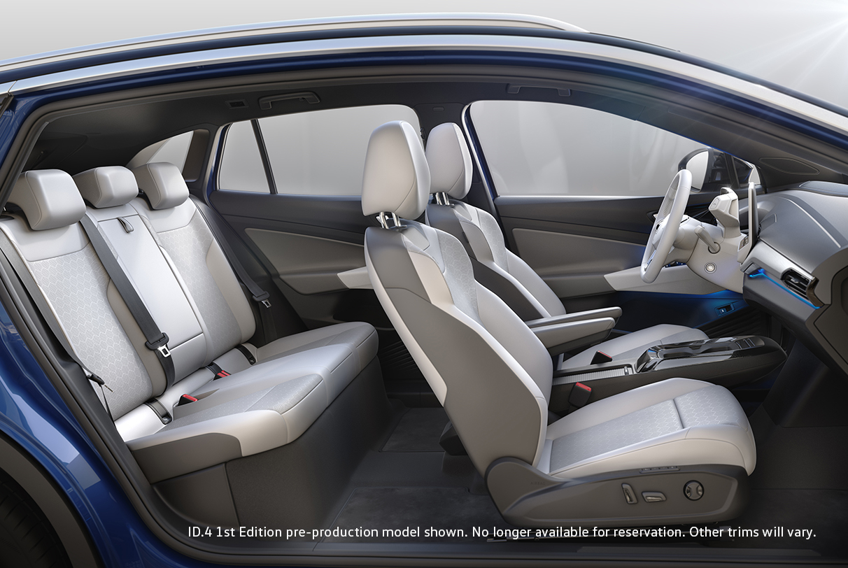 An interior view of the ID.4 front and back seats shown from the side.
